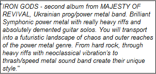 From Bandcamp - http://majestyofrevival.bandcamp.com/